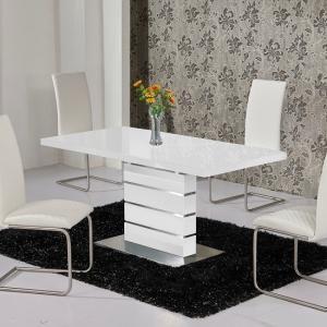 Parini Extendable Dining Table Rectangular In White Gloss