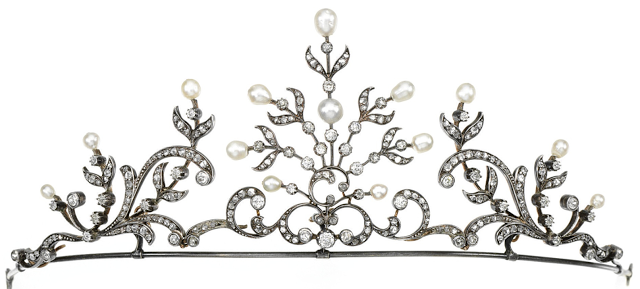 Pearl and diamond tiara designed as a series of scroll and stylized foliate motifs, set at intervals with pearls of various sizes, circular-cut and rose diamonds. It may also be worn as a necklace. Via Diamonds in the Library.