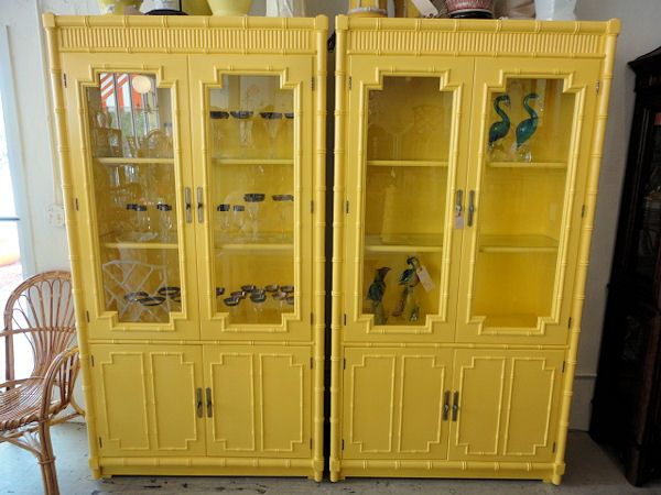 FAUX BAMBOO Canary YELLOW Cabinets For The Dining Room :)
