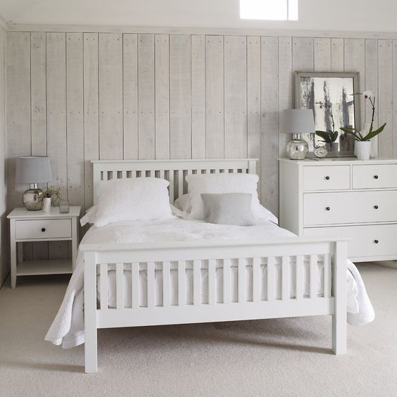 Rooms With White Furniture: 4ft6 Double Shaker Wooden Howard White Oak Wooden Bed + 10