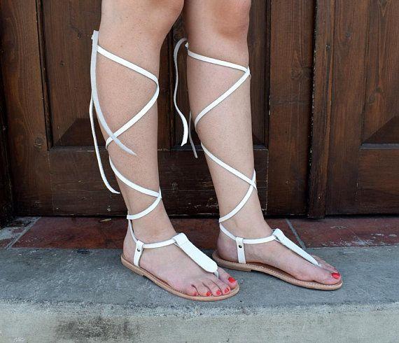 1d69d4c59f2 Ancient Greek leather sandals, Lace up sandals, White sandals, Wedding Gladiator  sandals,