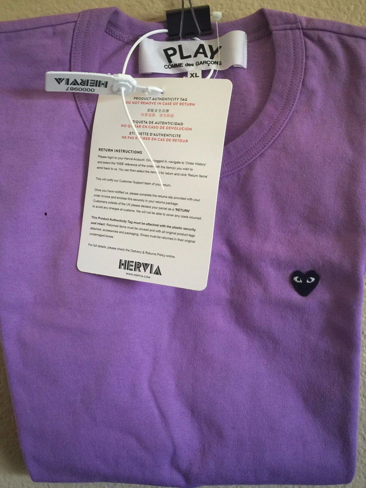 410e9c660 Comme Des Garcons Play Black Heart T-Shirt Purple Size XL CDG Bape Yeezy  Supreme