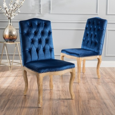 Shylo New Velvet Dining Chair - Navy (Blue) (Set of 2) - Christopher ...