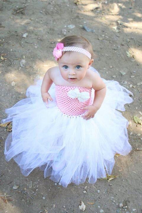 Newborn - Size 12 Light Pink and White Tutu Dress