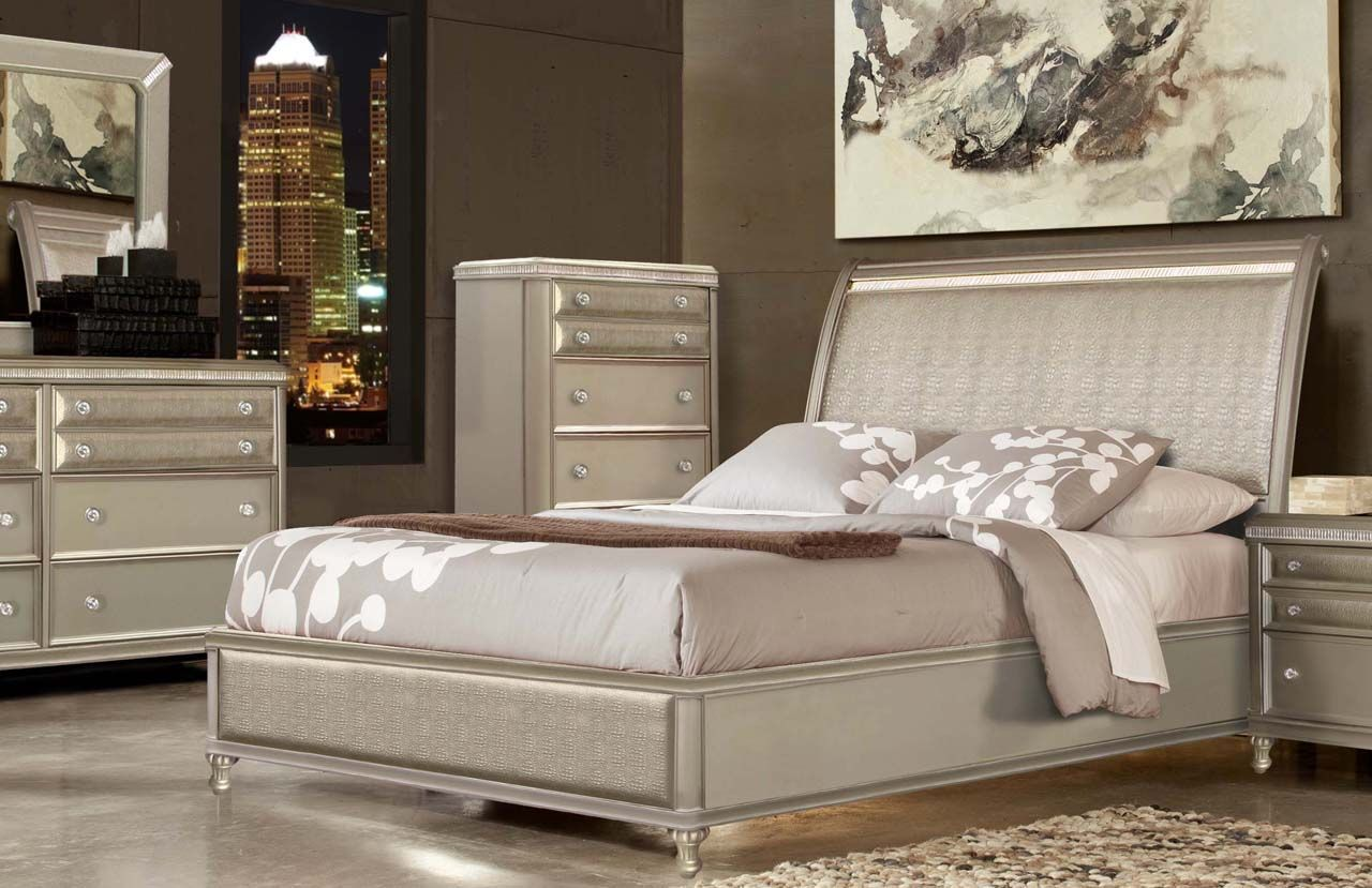 Glam Bedroom With Gator And Crystal Bedroom Sets Bedroom Furniture Design Bedroom Furniture Sets