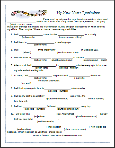 my new years resolutions a mad libs style parts of speech review this freebie is sure to be a fun way to start 2013 in the classroom