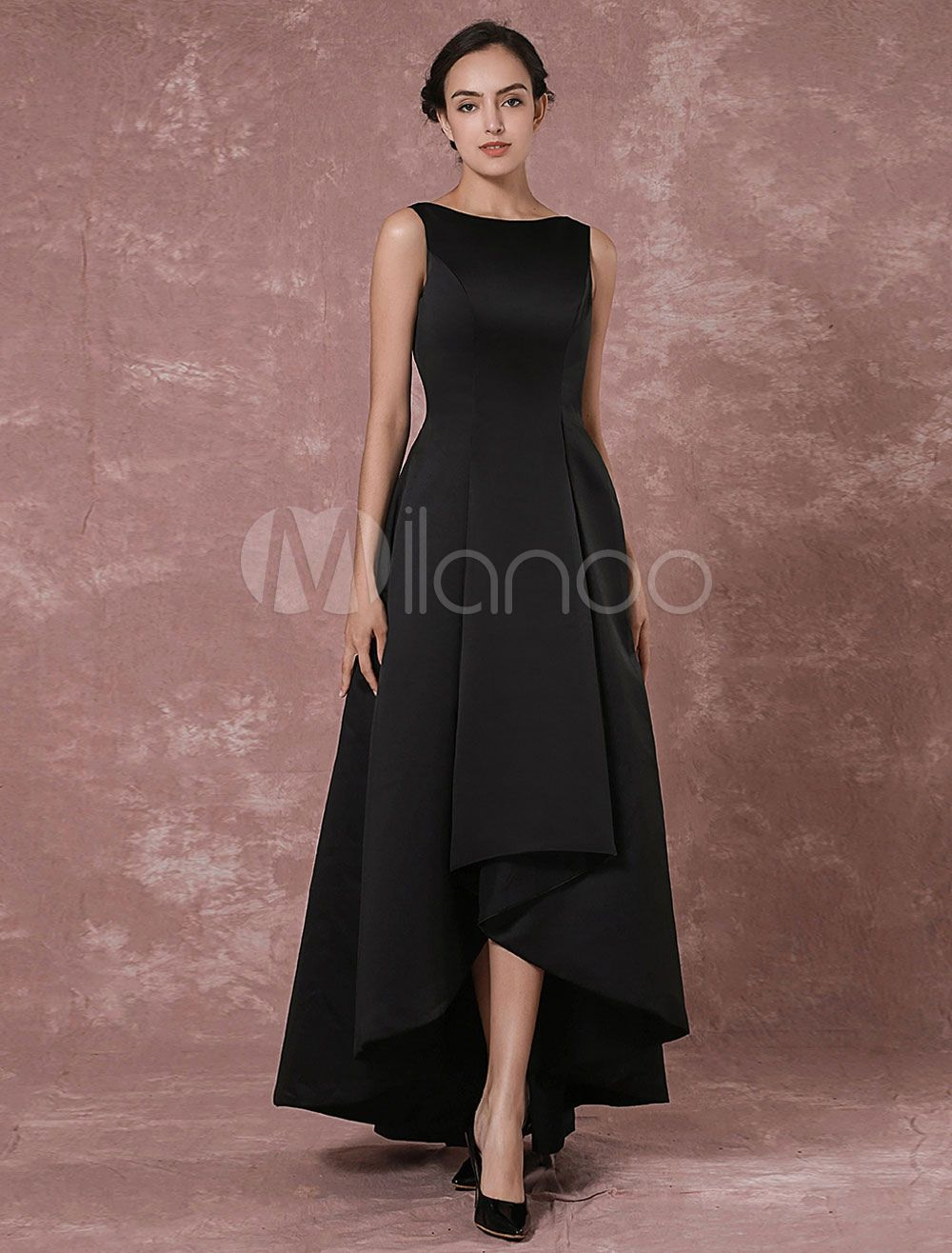 Black prom dresses long backless evening dress taffeta high low
