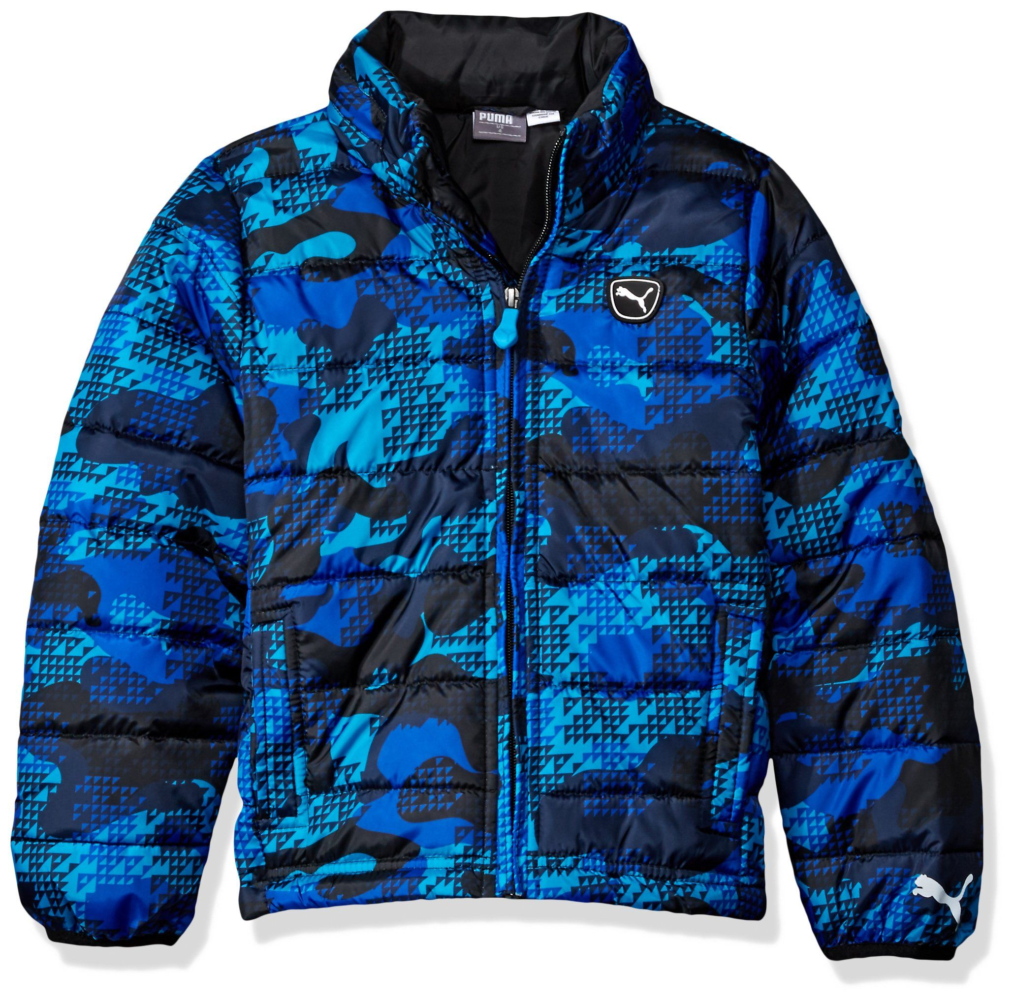 Puma Little Boys All Over Printed Jacket Atomic Blue 5 Rubber Patch Puma Logo Zipper Pull Jackets Blue Puffer Athletic Jacket [ 2035 x 2060 Pixel ]