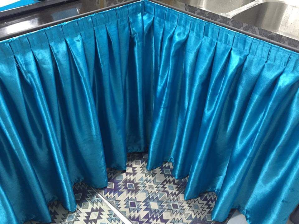 Mudahnya Buat Langsir Tutup Bawah Sinki Diy Guna Gam Pun Tetap Nampak Kemas Table Top Home Decor Basic Shower Curtain