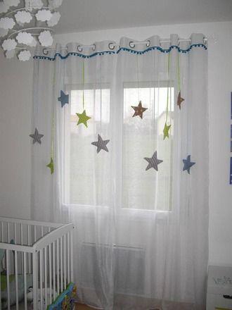 sur commande rideau enfant voilage étoile tissu et satin : autres