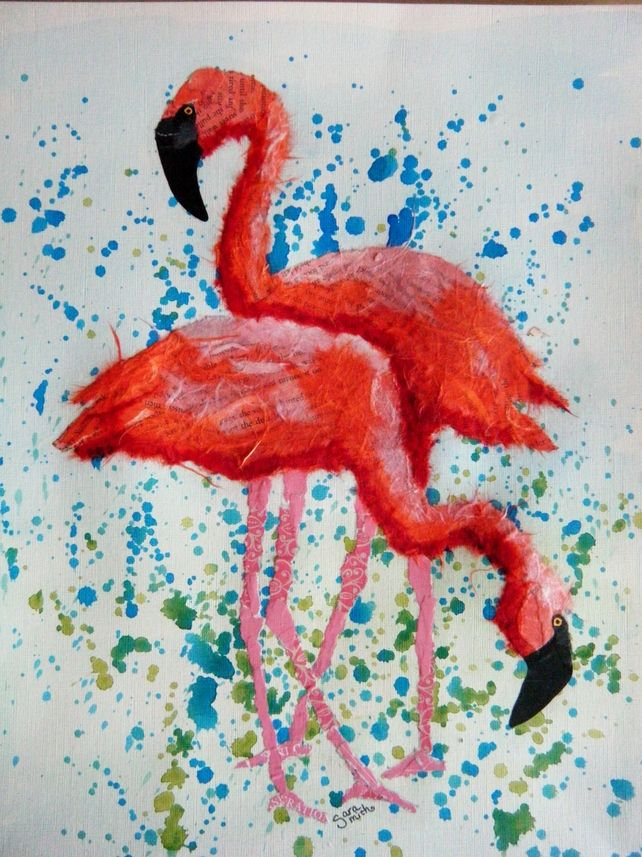 ORIGINAL mixed media collage of flamingos £50.00 available from folksy.com/shops/inkybird