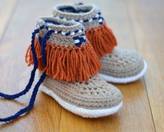 Crochet Pattern Slippers for Children Moccasin Fringe Boots Kids ...