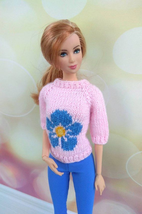 Barbie doll clothes  Handknitted baby pink sweater with blue flower + blue short leggings for a regular sized Barbie dolls  Modern knitting is part of Baby Pink Clothes - OrdaliaHandwork Happy shopping! ♫ Come from the smoke free and pet free house  ♫ Please do not copy, sell or distribute this items