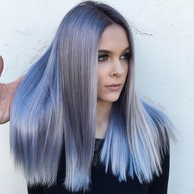 Ice Blue Hair Color Correction Shiny Straight Hair Cabello