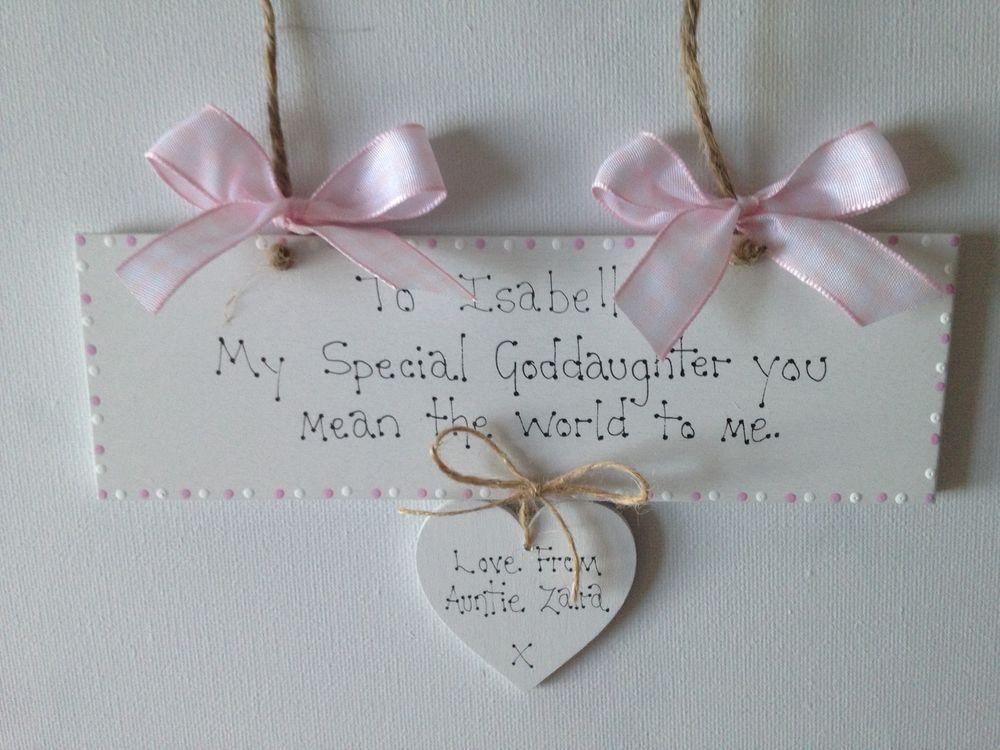 Personalised Goddaughter Godson Christening Day  Birthday Keepsake Gift Sign