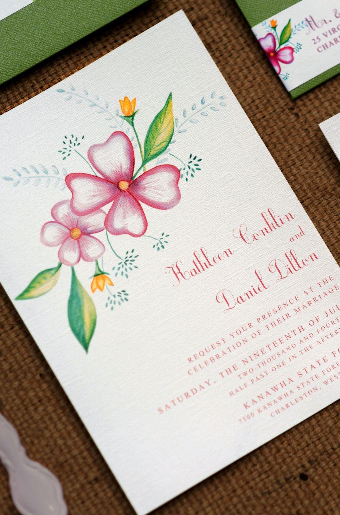Floral Watercolor Custom Wedding Invitation Suite by EAlexDesigns ...