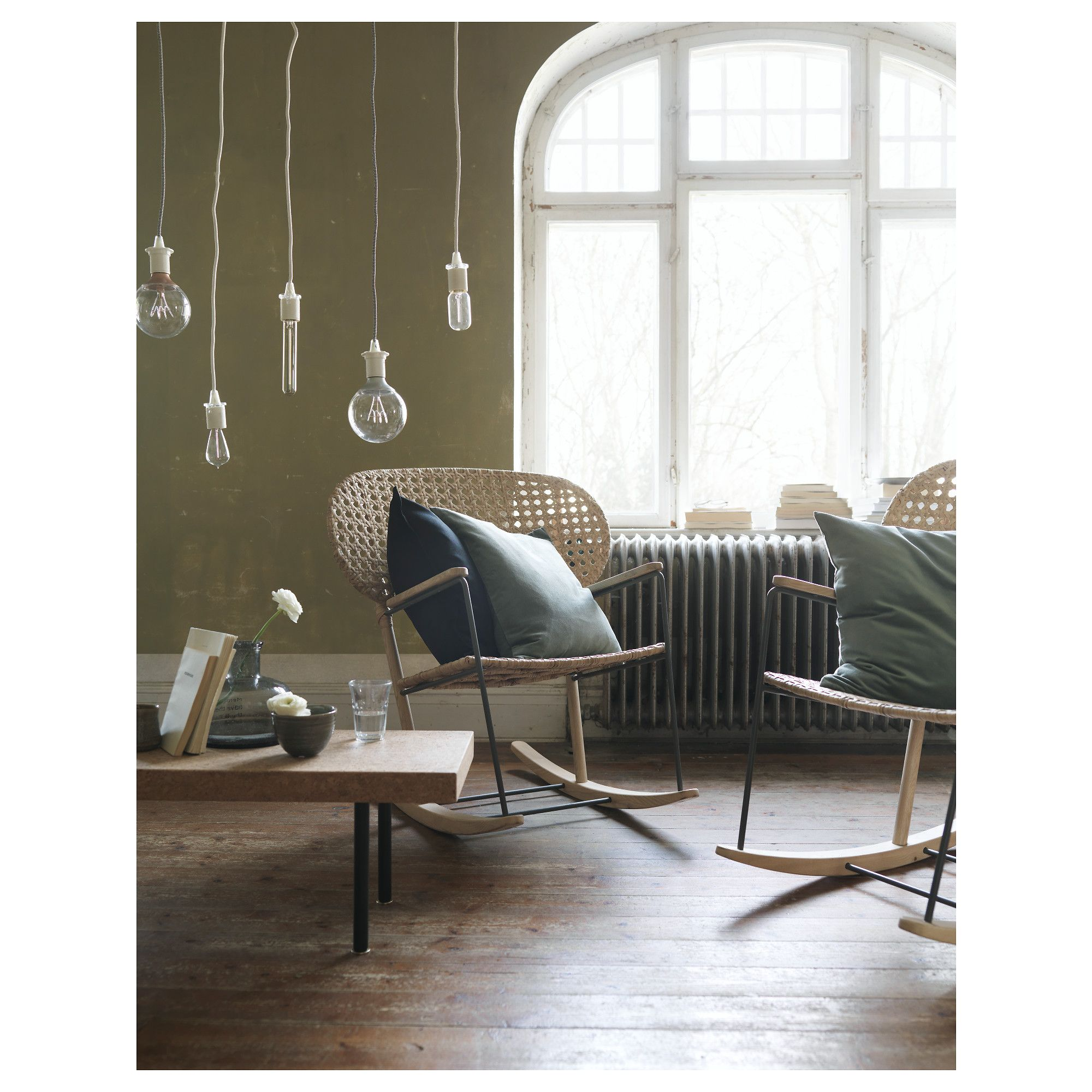 IKEA GR–NADAL rocking chair Made from rattan and ash natural