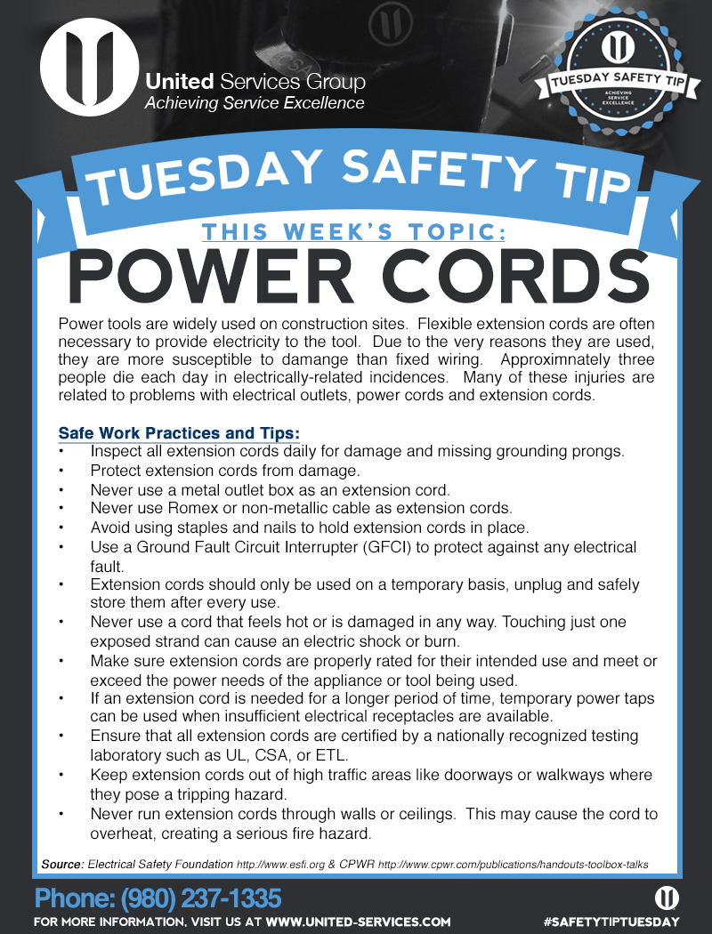 This week's Tuesday Safety Tip is about Power Cord safety