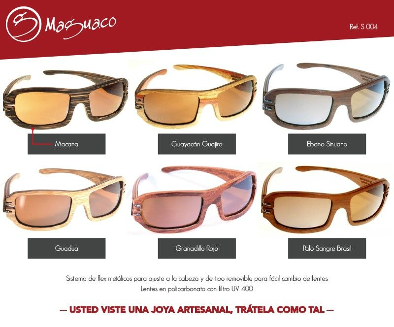 7ebac83a96 Gafas de sol en madera con filtro UV marca Maguaco S004. $200.000 COP