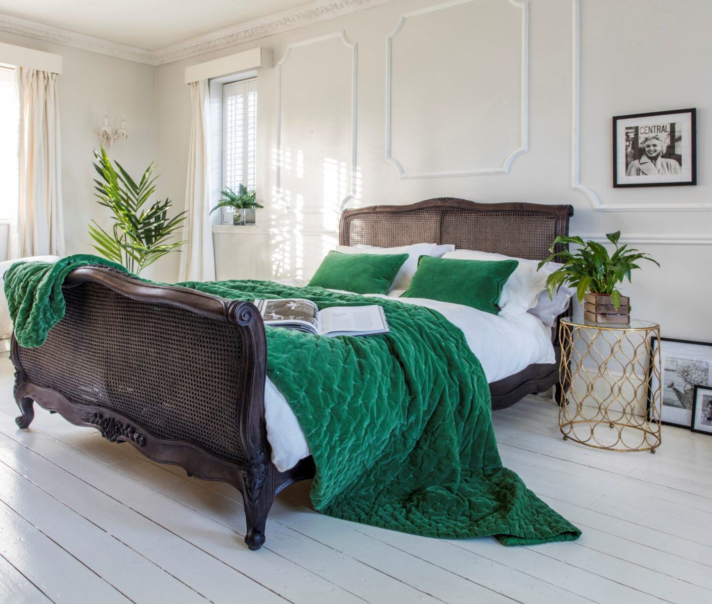 Master bedroom green  The French Bedroom Company Black Wood Wicker bed with green velvet