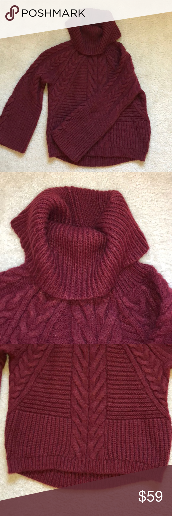 Express Brushed Lace Up Cable Knit Cowl Neck Cowl Neck Knit Sweater Knit Cowl Cable Knit