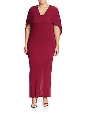 ABS, Plus Size Cape Gown