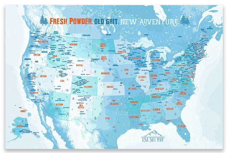 Ski And Snowboarding Map Of America Poster Resort Decor Ski
