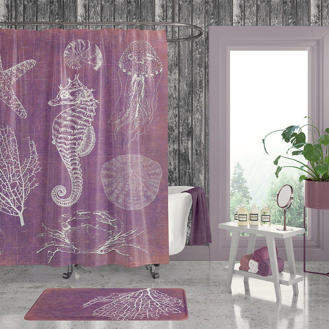 Bohemian Beach Bathroom Shower Curtain Purple Bathroom Decor