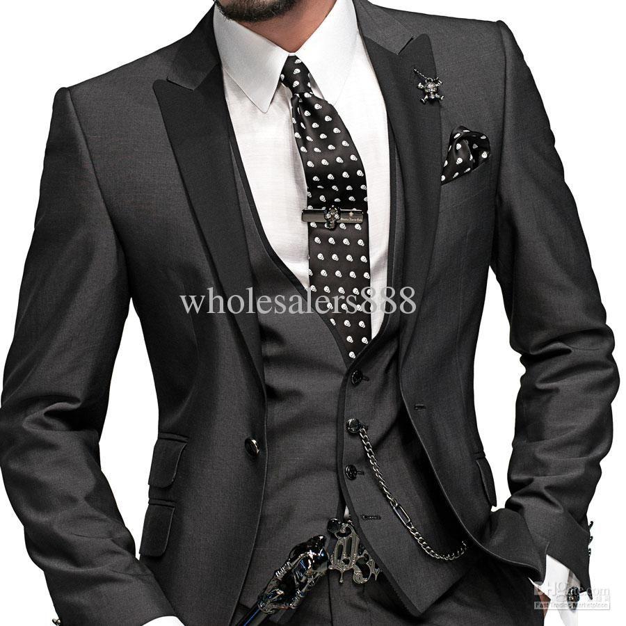 Charcoal Grey Groom Tuxedos Best Man Peak Black Lapel Groomsmen ...