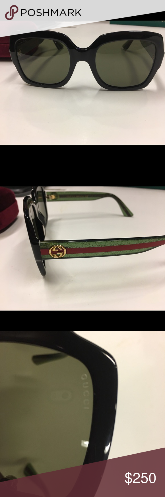 d81617dcb5a Authentic Gucci GG black square sunglasses 2018 beautiful red green sparkle  GG on the side