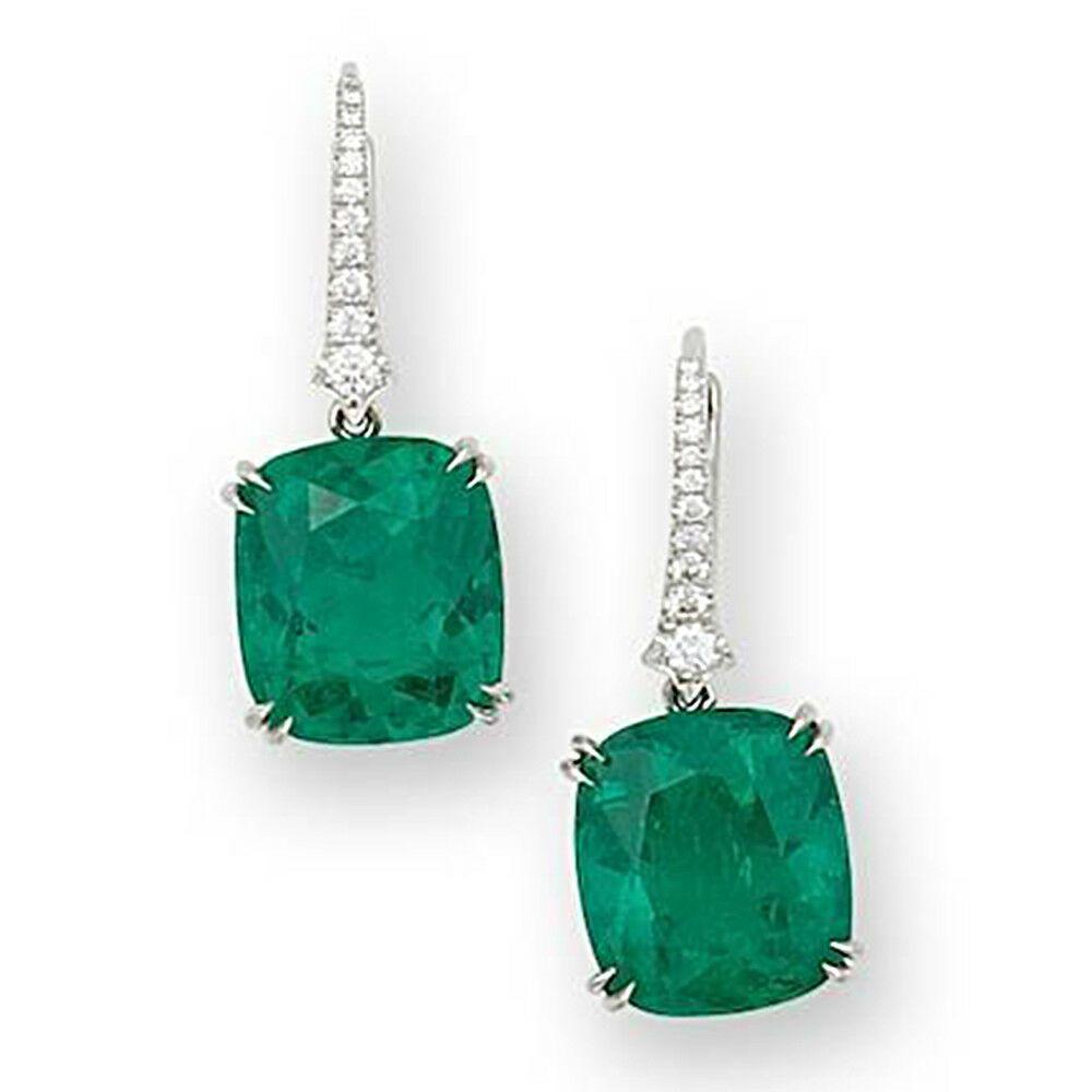 f5713d1685ad 2.25 TCW Cushion Cut Green Emerald 14k White Gold Finish Drop Dangle  Earrings  Kanak  DropDangle