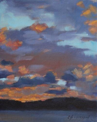 "Original Fine Art For Sale: ""Silver Lake Sunset"""