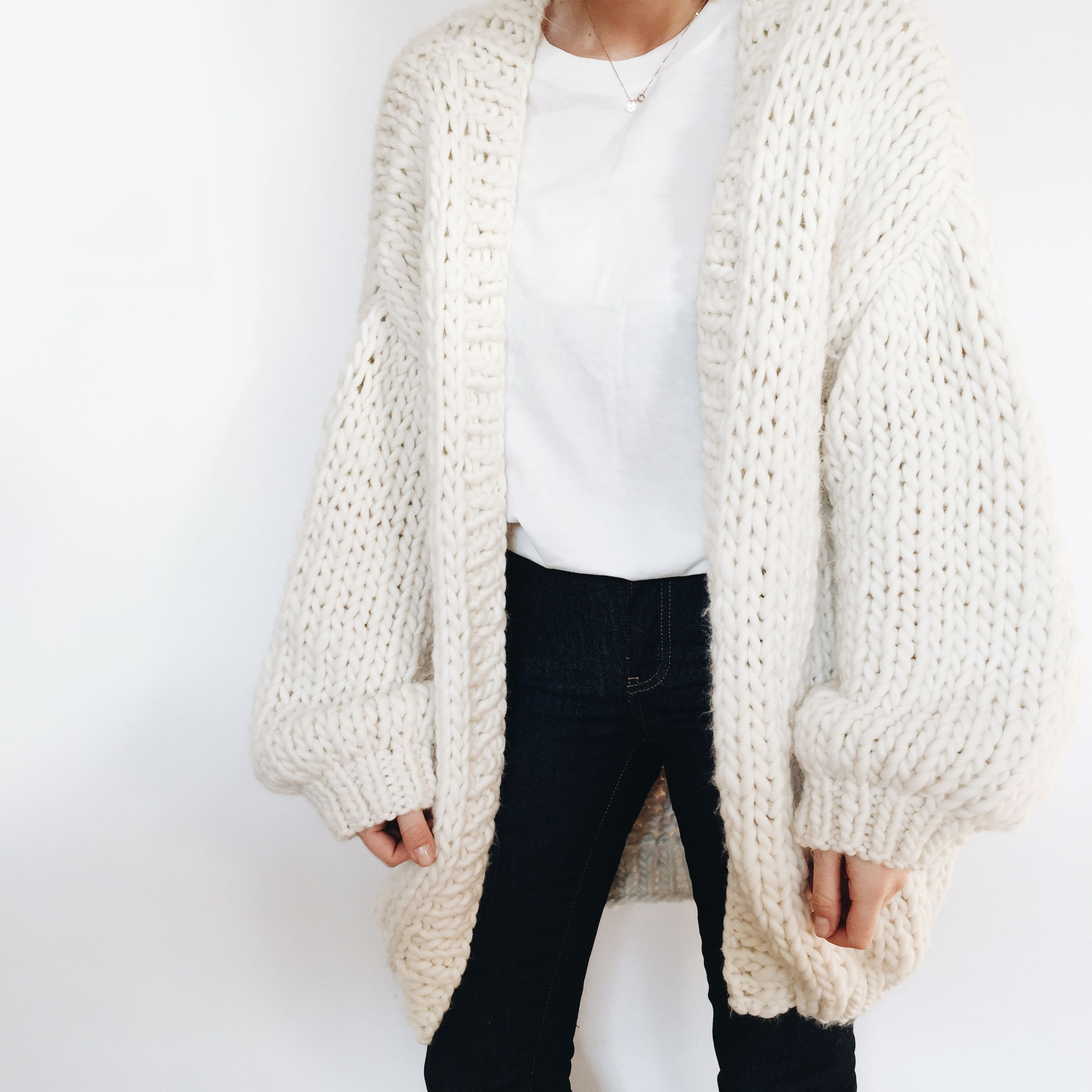 Beige Solid Collarless Open-Front Long-Sleeve Knit Cardigan ...