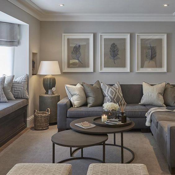 modern grey and tan living room #ModernHomeDecorLivingRoom