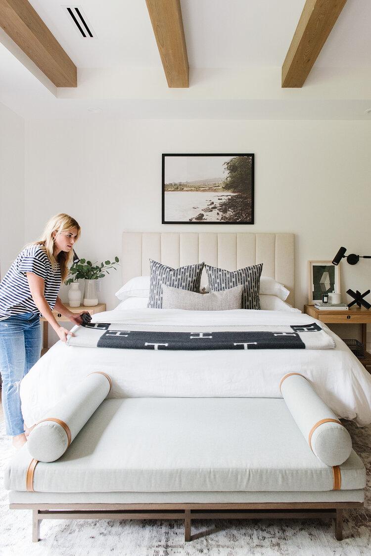Creating A Cozy Guest Bedroom Studio Mcgee In 2020 Lakehouse Bedroom Guest Bedroom Bedding Home Bedroom