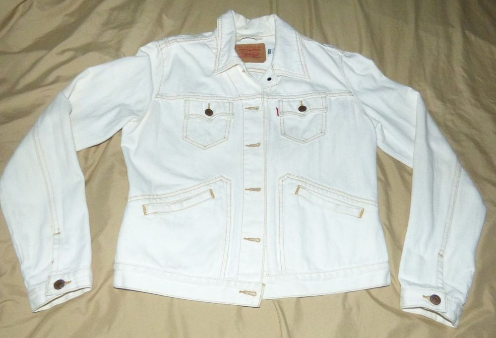 Levi Strauss White Denim Jean Jacket Levis Juniors Large L Fashion