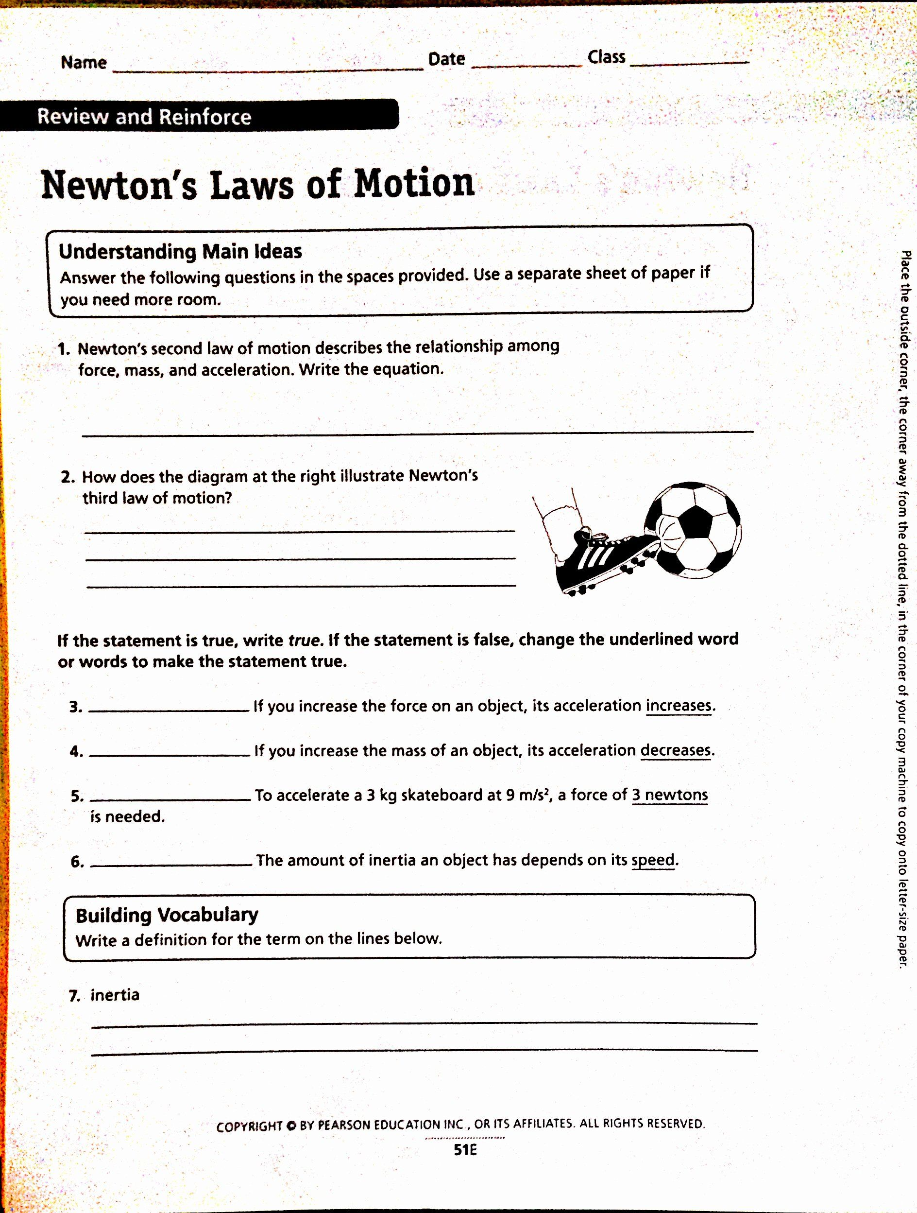 Newton S Third Law Worksheet Answers Best Of 3 Laws Of