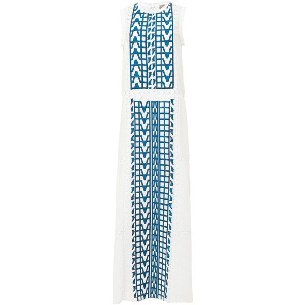Sea Embroidered Cotton Voile Maxi Dress ($256) ❤ liked on Polyvore featuring dresses, sleeveless maxi dress, embroidered maxi dress, maxi skirt, white sleeveless dress and white slit maxi skirt