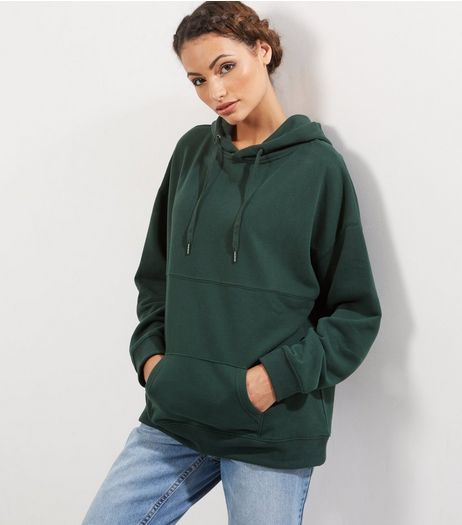Dark Green Oversized Seam Trim Hoodie | New Look | Oversized