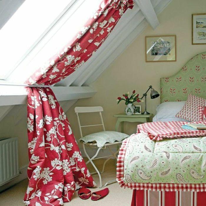 farbige gardinen für dachfenster mit blumen mustern   DEKORATION ...