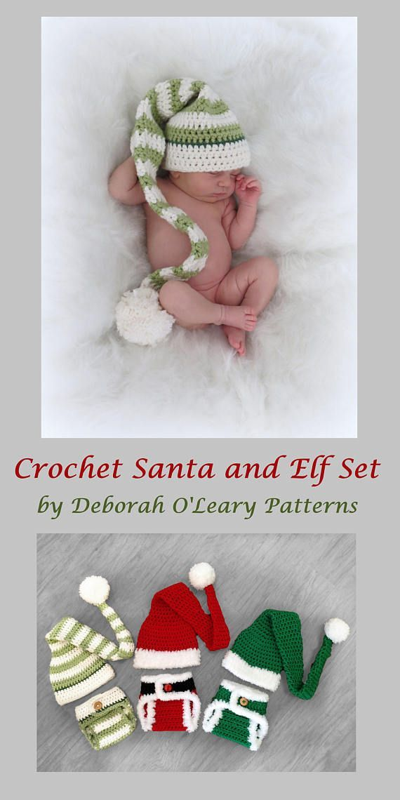 Crochet Elf & Santa Hat and Diaper Cover Pattern - Newborn Photo ...