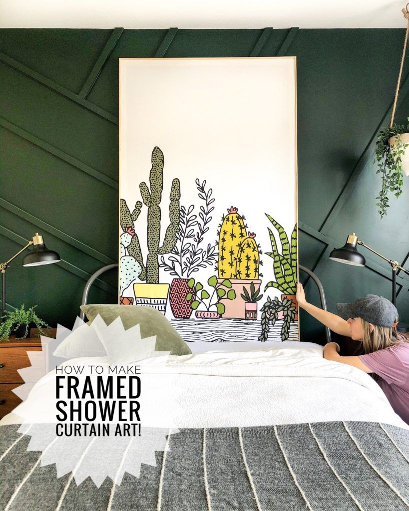 How To Diy Shower Curtain Wall Art With A Frame Shower Curtain