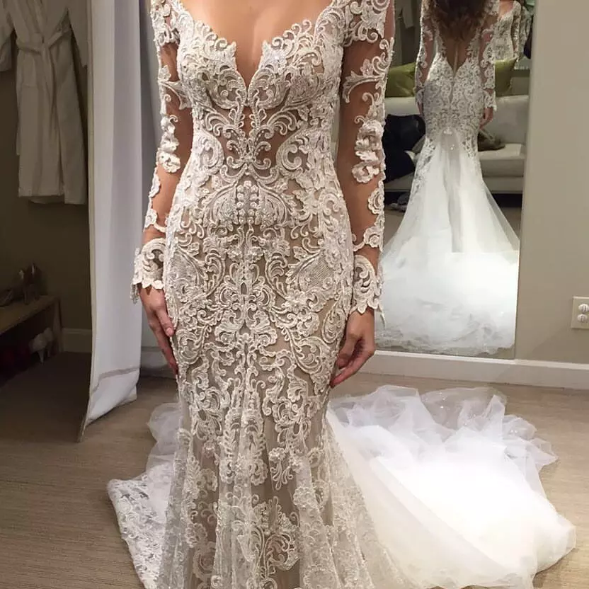 Romantic Long Appliques Backless Lace Mermaid Ivory Wedding