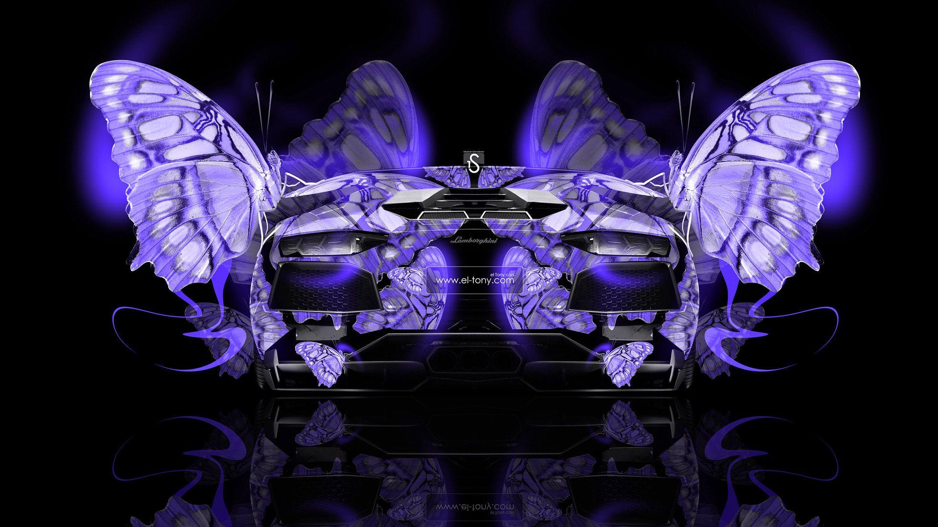 Awesome Lamborghini Aventador Back Fantasy Butterfly Car 2014