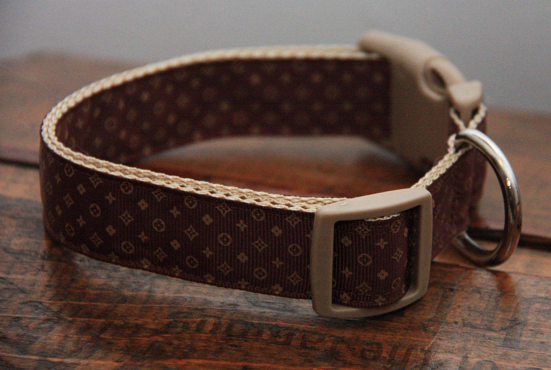 Designer Louis Vuitton Inspired Brown 1 Inch Dog Collar