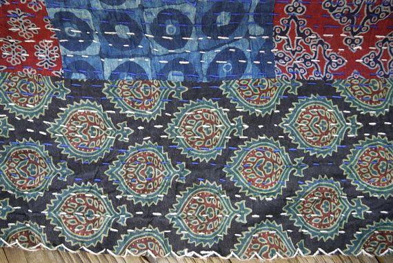 Throw Bed Bedspread Sofa Or Indigo Blue Cotton Plaid And Dark Red
