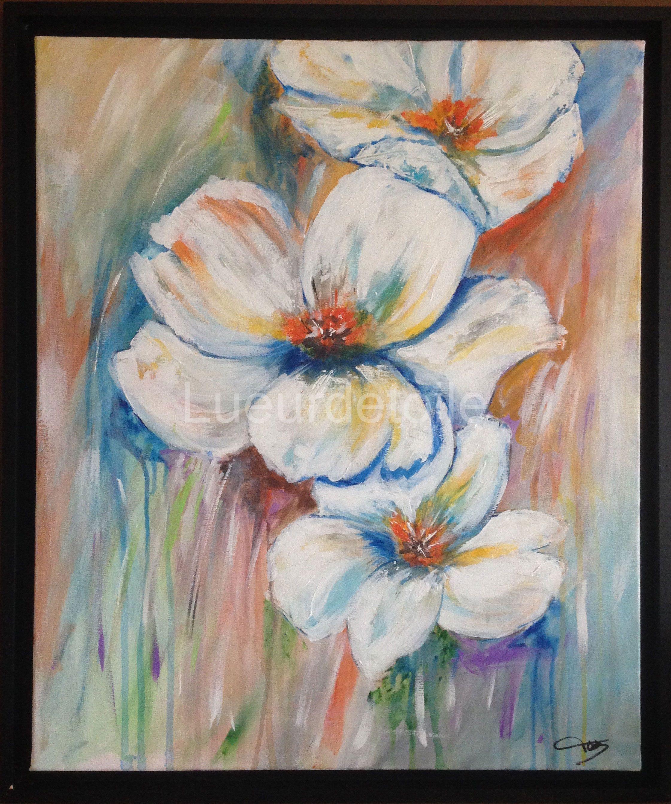Exceptionnel Peinture contemporaine à l'acrylique Fleur 2015 - Tableau n°49  WI79