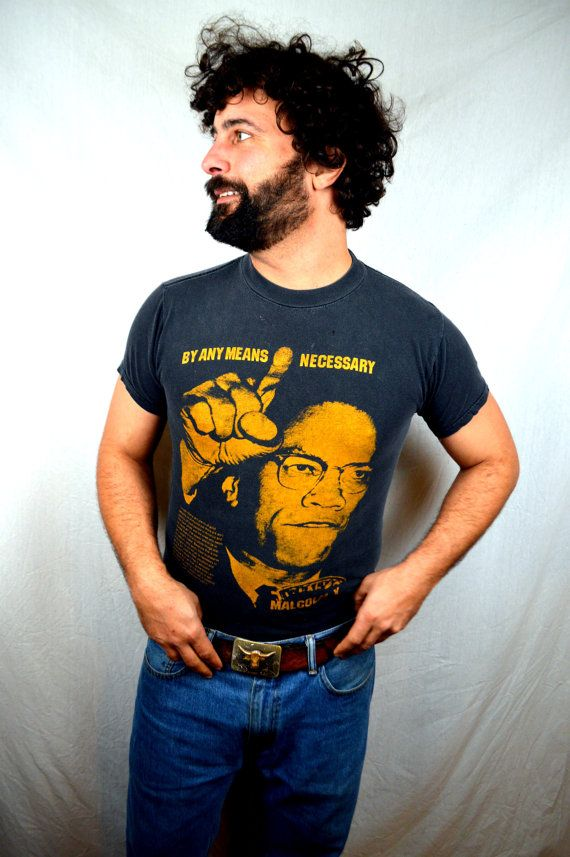 vintage 80s malcolm x tee shirt by rogueretro on etsy