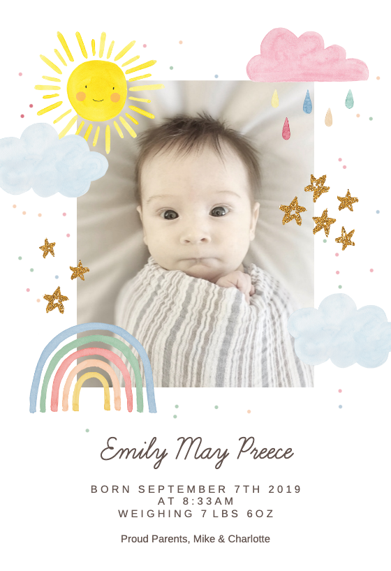 Rainbow Magic Birth Announcement Template Greetings Island Birth Announcement Template Birth Announcement Card Baby Birth Announcement Cards
