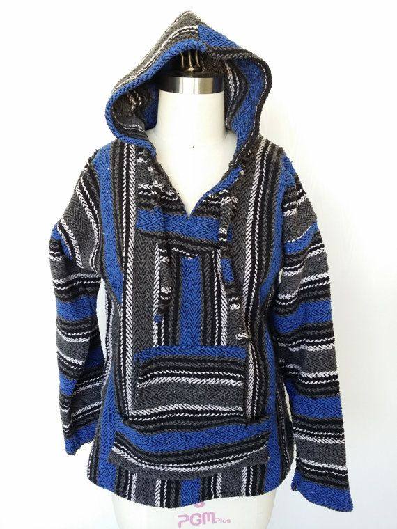 Vtg Ethnic Baja Poncho Hoodie / Size S Mexican Drug Rug Blue Black White  Gray Beach Cover Up
